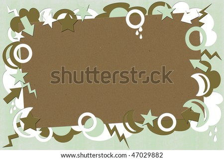 A photo of kraft paper surrounded by green, brown & white shapes - stock photo