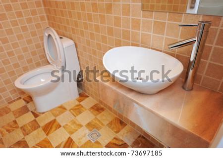 A photo of modern bathroom interior. - stock photo