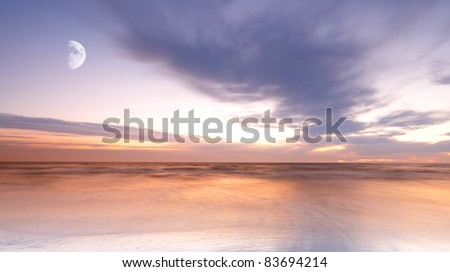 a photo of moonlight at the sea - stock photo