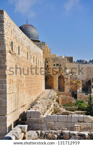 A Photo of Old City and Temple Mount in Jerusalem - stock photo
