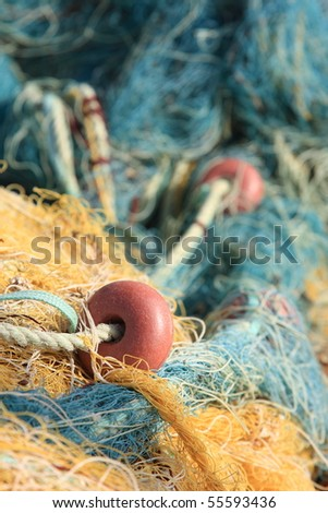 A photo of old colorful fishing gear - stock photo