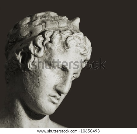 A photo of old Greek bust (philosopher) - stock photo