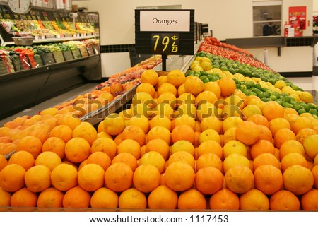 A photo of oranges at the supermarket - stock photo