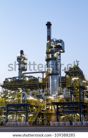 A photo of petrochemical industrial plant. - stock photo