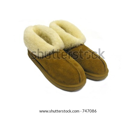 A photo of some warm slippers with a comfort theme - stock photo
