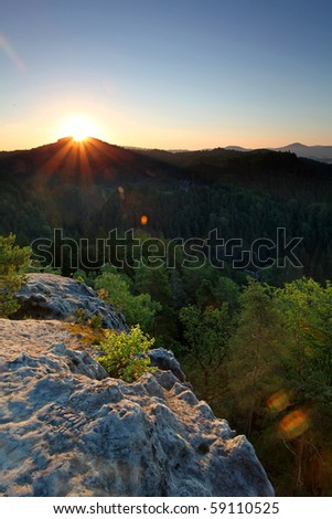 A photo of sunrisen from  Mountain - stock photo