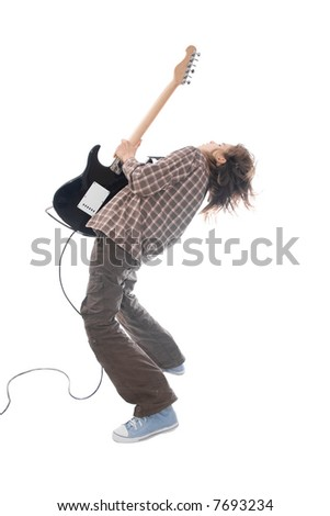 A photo of teenager guitar player taken over white. - stock photo