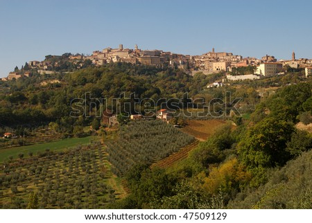 A photo of the hilltop town of Montepulciano, Italy