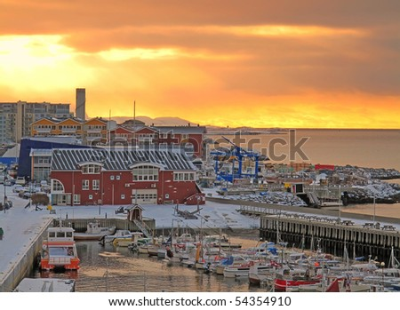 A photo of the midday sun in Bodo in wintertime - stock photo