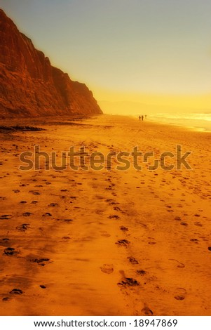 A photo of the sunset at beautiful Torrey Pine Beach, San Diego, California - stock photo