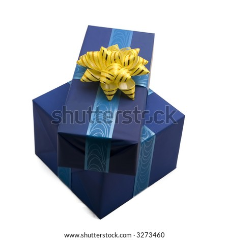 a photo of two gift boxes over white