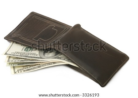 a photo of wallet with dollar banknotes - stock photo