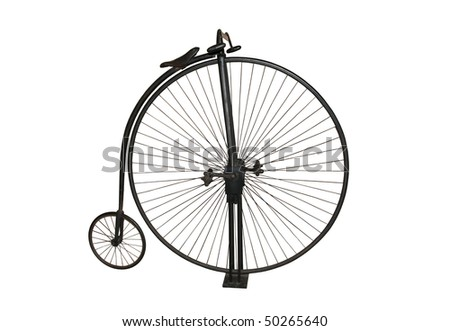 A photograph of a genuine Penny farthing vintage bicycle, isolated on a pure white background.