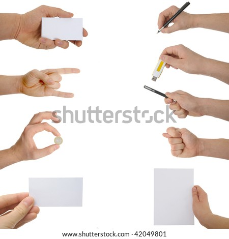 A photograph of hands with different  objects. - stock photo