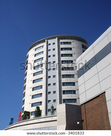 A photograph ultra modern residential building, in Romford town centre. - stock photo