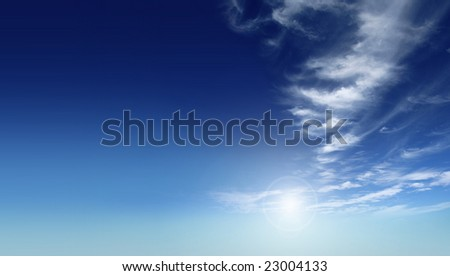 A photography of a beautiful blue sky - stock photo