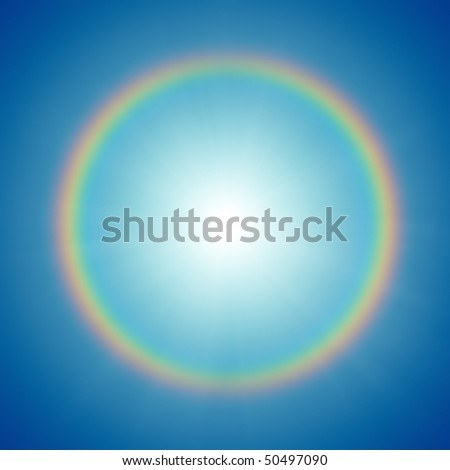 A photography of a rainbow around the sun - stock photo