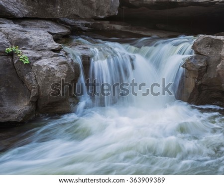 A photography of beautiful waterfall on the rocks