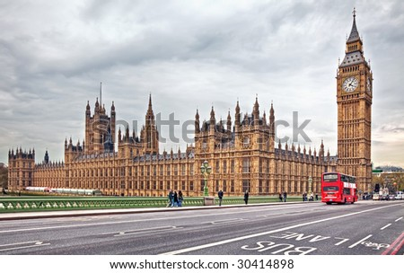 A photography of the Houses of Parliament in London UK - stock photo