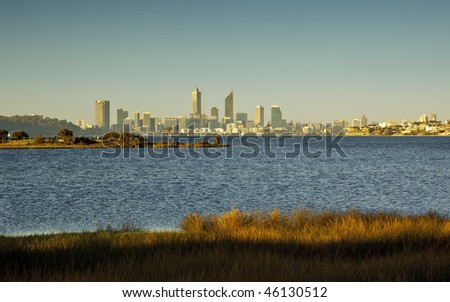 A photography of the skyline of Perth - stock photo