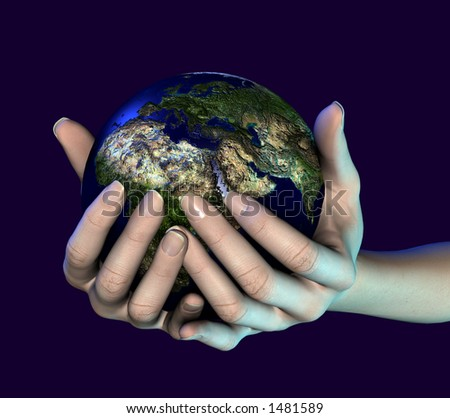 A photorealistic 3D render of hands holding the world - stock photo