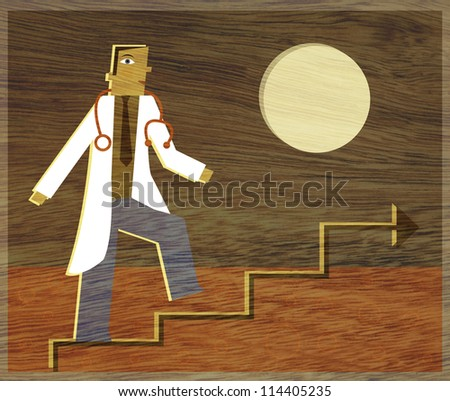 A physician climbing a line graph that looks like stairs - stock photo