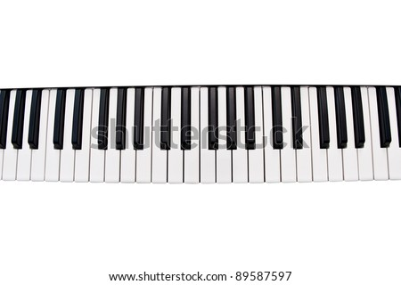 a piano keyboard isolated on a white background - stock photo