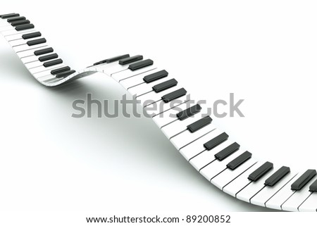 a piano keyboard wave on white - stock photo