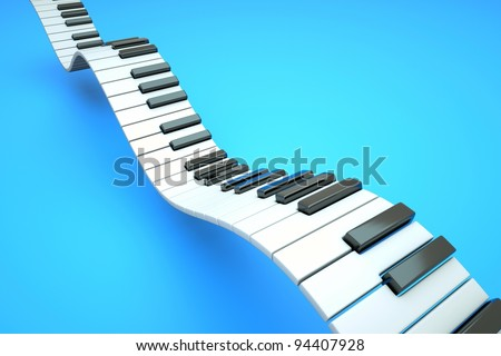 a piano keyboard waves on blue - stock photo