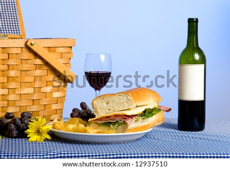 A picnic lunch consisting of a sandwich, potato chips and grapes on a bluegingham tablecloth