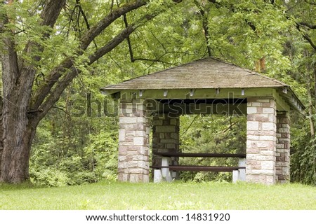 A picnic shelter in a local park.