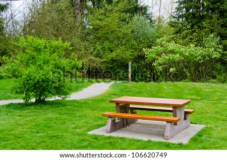 A picnic table at Derby Reach Regional Park, British Columbia, Canada. - stock photo