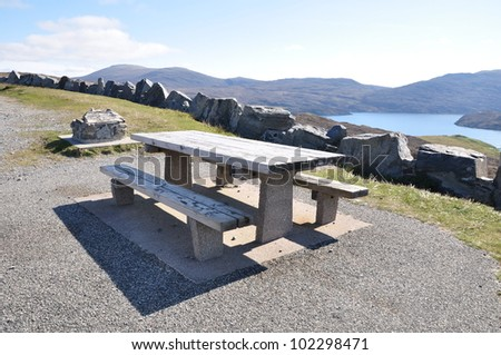 A picnic table at the view point