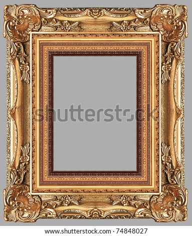 a picture gold frame on a grey - stock photo