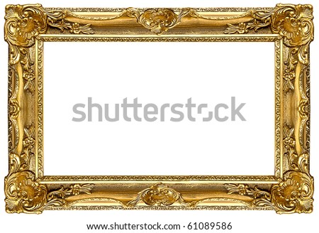a picture gold frame on a white - stock photo