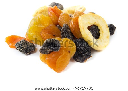 A picture of a bunch of dried fruits on a white background