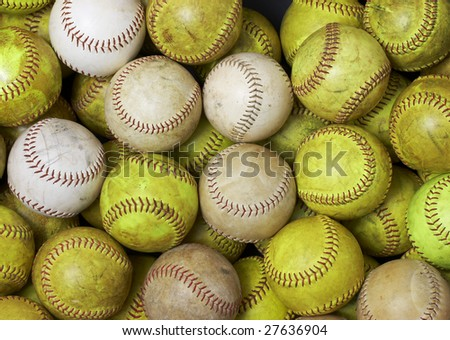 a picture of a bunch of softballs
