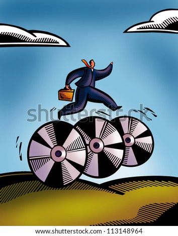 A picture of a business man rushing on CD wheels