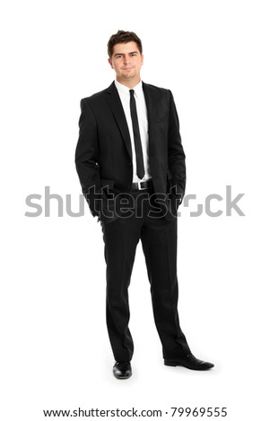 A picture of a confident businessman standing over white background