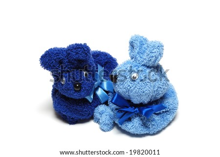 A picture of a couple of blue rabbits