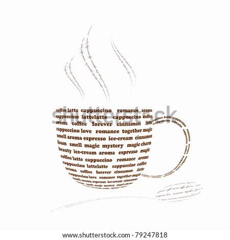 a picture of a cup of coffee made up of words - stock photo