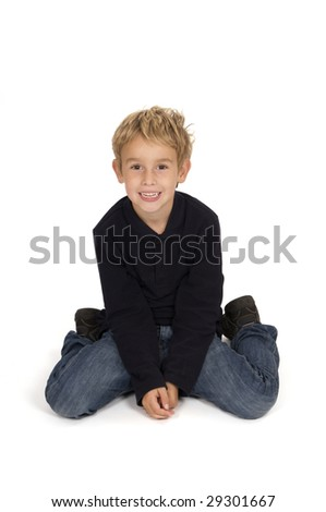 a picture of a cute boy sitting on white background