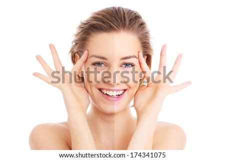 A picture of a female face cut in half to present before and after effect over white background - stock photo