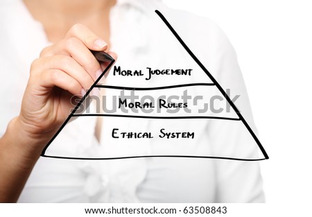 A picture of a female hand drawing a business pyramid over white background - stock photo