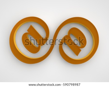 Picture Golden Infinity Symbol Consisting Two Stock Illustration