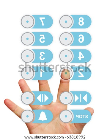 A picture of a hand touching elevator panel over white background - stock photo