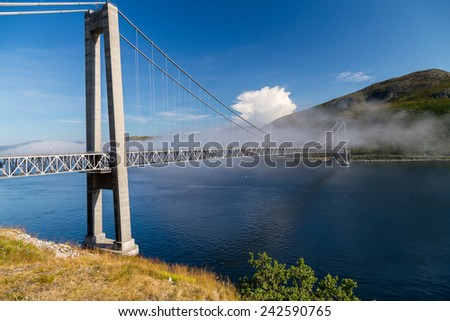 A picture of a hanging bridge in kvalsund, norway