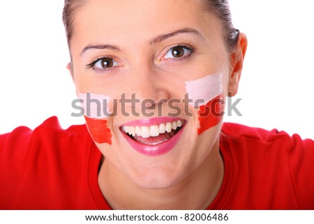 A picture of a happy Polish female fan cheering against white background - stock photo