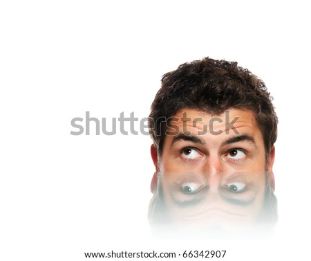 A picture of a male face and its reflection over white background