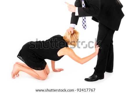 A picture of a man dismissing female employee's over white background - stock photo